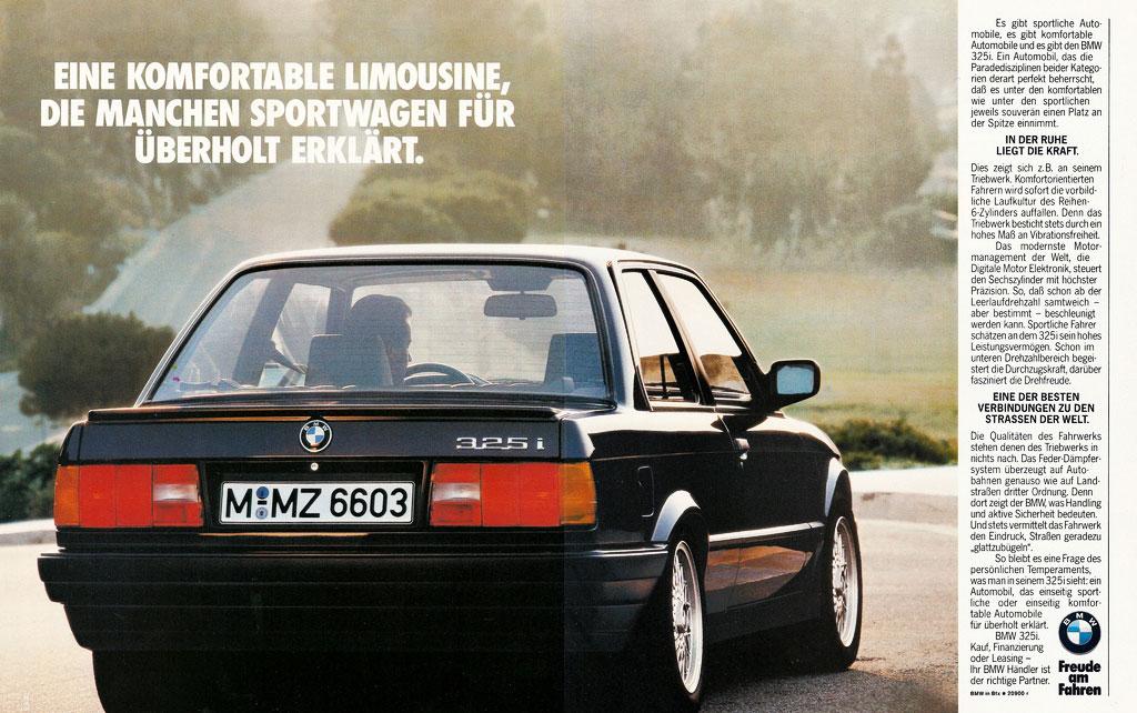 Alte Reklame Werbeanzeige BMW E30 325i