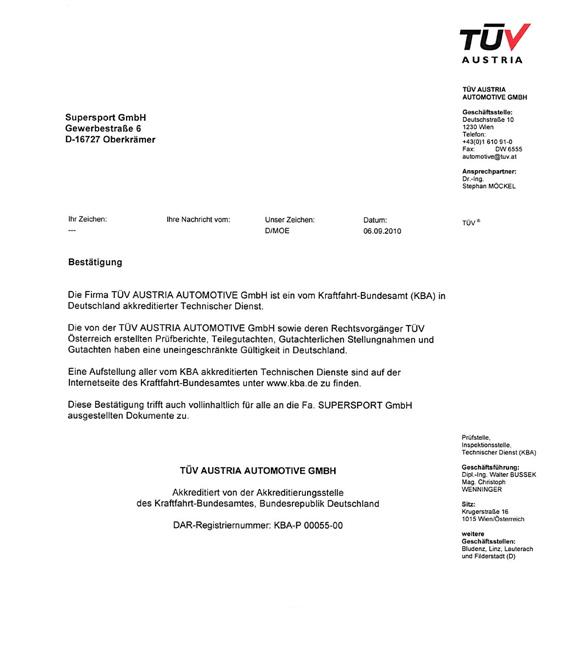 TÜV Austria Teilegutachten in Deutschland gültig?